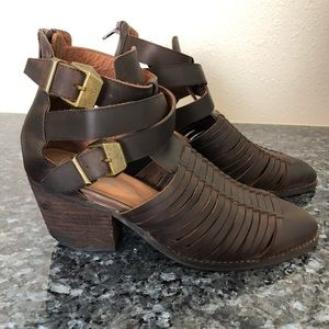 Jeffrey Campbell Stilwell brown booties strappy